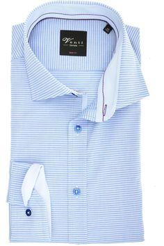11950e09 Hochwertiges Venti Body Fit Hemd in der Farbe blau/weiss, Querstreifen. Der  Ärmeltyp