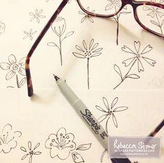 Flower Doodles by Rebecca Stoner for #artdaily2015 www.rebeccastoner.co.uk