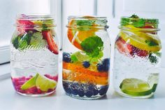 I love making infused water; it tastes amazing, looks pretty, it helps me drink more water which is something I am unfortunately not very good at and it is of course all healthy as it is only water, fruit and herbs. For these I used lemon slices, lime slices, orange slices, strawberries, blueb....