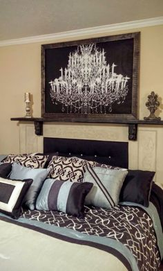 Mantel Headboard, not sure I'd risk having a decorative obj on my headboard, and have it knock me out when my kids jump on my bed, but this looks cool!