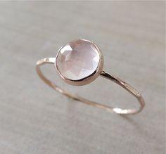 Rose Quartz Ring Rose Gold Ring Pink Rose Cut by NicoleScheetz