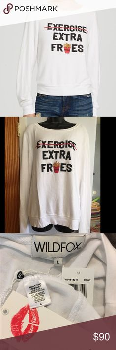"""NEW Wildfox White Exercise Extra Fries Sweatshirt NEW White Wildfox """"Exercise Extra Fries"""". All tags attached. Size Large. Wildfox Sweaters Crew & Scoop Necks"""