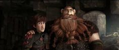Hiccup with his dad, Stoick. Look at Hiccup's face lol