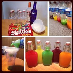 Skittles vodka. :)  Sort skittles by color put them in separate water bottles fill each bottle with eight oz of vodka (or how ever much needed to fill your flask) let sit over night. Shake randomly. Skittles will dissolve completely. Use a coffee filter to strain the bottle mix. (important). The end. Simple skittles vodka. Few pointers... Stay away from super cheap vodka and flavored vodka that match the skittles flavor makes is that much more amazing.
