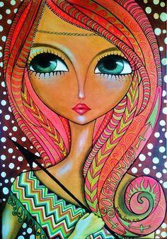 Solve Big Eye Art by Lerda jigsaw puzzle online with 247 pieces Pintura Graffiti, Art Amour, Pop Art, Art Fantaisiste, Art Visage, Art Populaire, Art Et Illustration, Whimsical Art, Big Eyes
