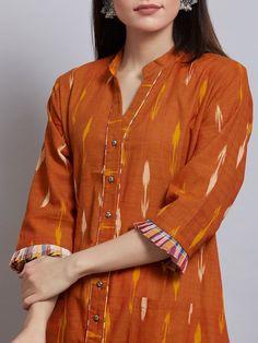 Rust Cotton Ikat Kurta Kurti Sleeves Design, Sleeves Designs For Dresses, Kurta Neck Design, Neck Designs For Suits, Churidar Neck Designs, Kurta Designs Women, Blouse Designs, Salwar Designs, Chudidhar Designs