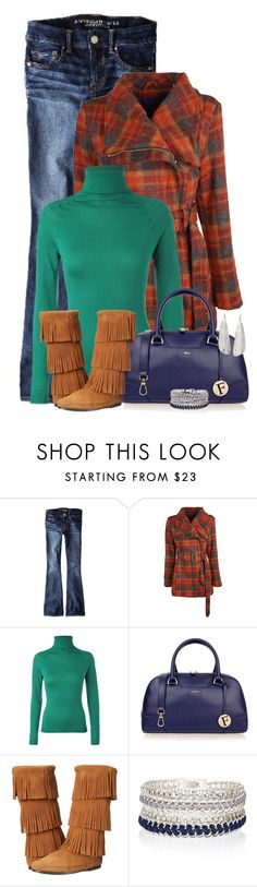 """""""Minnetonka Boots & A Turtleneck"""" by majezy ❤ liked on Polyvore featuring American Eagle Outfitters, Steve Madden, ESCADA, Furla, Minnetonka, River Island, NOVICA, women's clothing, women's fashion and women"""