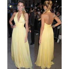 Blake Lively Yellow Halter Prom Dress Savages New York Premiere #BlakeLively #Yellowdress