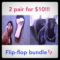 2  Pair Flip Flops For The Price Of 1