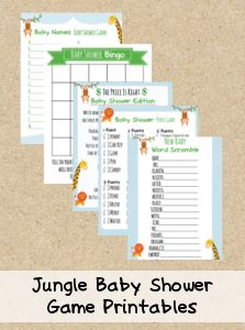 FREE printable baby shower games - Jungle Theme