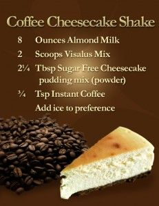 Love coffee and the Body by Vi shakes? Check out this great way to try the Body by Vi cheesecake shake. Cheesecake Au Café, Sugar Free Cheesecake, Coffee Cheesecake, Protein Shake Recipes, Protein Shakes, Smoothie Recipes, Protein Smoothies, Fruit Smoothies, Whey Protein