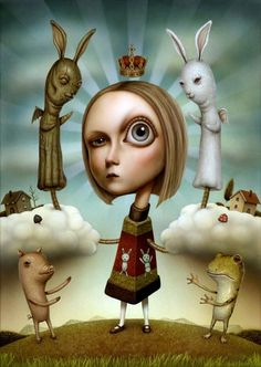 Japanese-born, New-York-based artist Naoto Hattori has a very distinct, Salvador-Dali-meets-manga aesthetic. This illustration inspired by Alice In Wonderland is one of the most stunning pieces of digital artwork. Art And Illustration, Painting Illustrations, Fantasy Kunst, Fantasy Art, Arte Lowbrow, Lapin Art, Chesire Cat, Arte Horror, Wow Art
