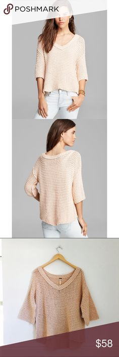 "Free People sweater NEW WITH TAGS Park slope v-neck textured sweater in blush by Free People. Chunky spring sweater with v-neck and 3/4 sleeves. Hi-lo hem. Front is approximately 20.5"", back 24"". Cotton and rayon. Size M. Free People Sweaters"