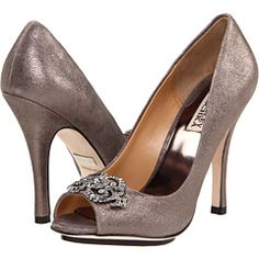 Pewter heels for the bridesmaids.. can be all different styles but same general pewter color