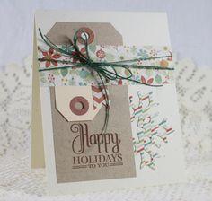 Handmade Greeting Card  Happy Holidays, PTI, tags, kraft tags