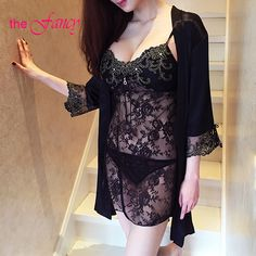 REAL PHOTO Satin Kimono Robe Slip Set Babydoll Sheer Night Dress Sleepwear women Sexy Black Gold Lace Applique lingerie pyjama *** Read more reviews of the product by visiting the link on the image.
