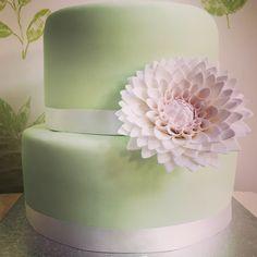 Mint and blush dahlia cake