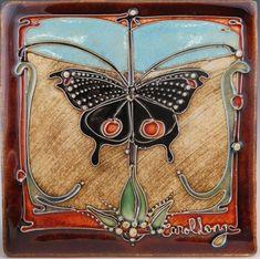 Browse unique items from CarolLongPottery on Etsy, a global marketplace of handmade, vintage and creative goods. Antique Tiles, Vintage Tile, Antique Art, Art Nouveau Tiles, Art Nouveau Design, Azulejos Art Nouveau, Craftsman Tile, Wow Art, Decorative Tile