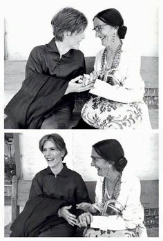 """David Bowie and an actress on set of """"The man who fell to earth """""""