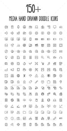 170 Media Hand Drawn Doodle Icons