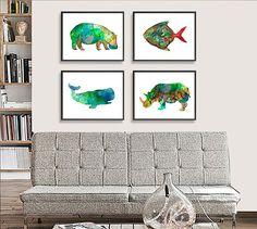Wohnkultur Wanddekoration Kunstdruck Aquarell Kunst von Thenobleowl