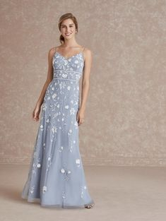 Adrianna Papell 40289 Feminine Floral Gown Flared Bridesmaid Dresses, Lace Bridesmaids, Blue Evening Dresses, Floral Gown, Beaded Gown, Bride Gowns, A Line Gown, Types Of Dresses, Dress Silhouette