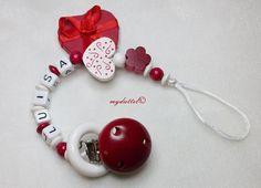 Schnullerkette Name Blume Herz Ring Baby md341 von myduttel auf DaWanda.com