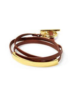 Leather Bar Triple Wrap Bracelet
