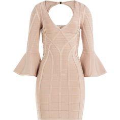 Hervé Léger Bandage Dress (115.685 RUB) ❤ liked on Polyvore featuring dresses, beige, herve leger dress, pink mini skirt, beige bandage dress, pink dress and bandage mini skirt