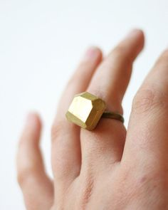 new gold dipped geo ring #ammjewelry #gold #ring #brass #metallic