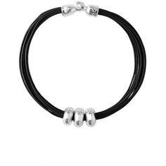 Simon Sebbag Leather Station Necklace ($178) ❤ liked on Polyvore featuring jewelry, necklaces, bracelets, layered chain necklace, multi-chain necklace, chunky necklace, black leather bracelet and genuine leather bracelet