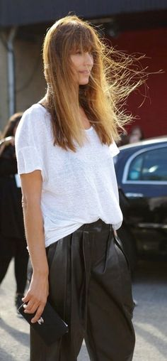 leather pant + simple white tee