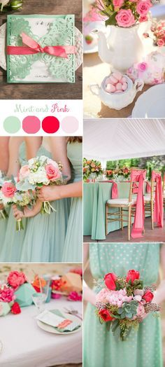 mint and pink spring and summer wedding colors
