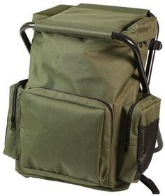 Olive Drab Backpack and Stool Combination NICE!