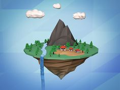 Low Poly Style Island on Behance Learning Maps, Nature 3d, Low Poly 3d, Cute Games, 3d Artwork, Environmental Art, Motion Design, Game Art, Unity