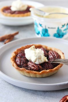 Nutty, crunchy and gooey mini pecan pie with Roddas clotted cream. Mini Pecan Pies, Mini Pies, Pecan Pie Filling, Clotted Cream, Corn Syrup, Original Recipe, My Recipes, Dairy Free, Snacks