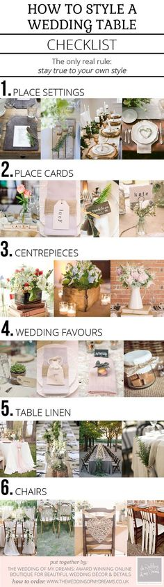 How To Style A Wedding Table – Checklist Get your centerpieces, bouquets, and boutonnieres done ahead of time by using amazing silk flowers from http://www.afloral.com/ #diywedding