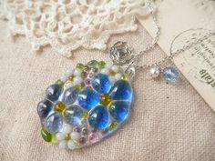 Fused Glass Necklace Petit Bouquet Blue Czech by clovernglass, $22.00