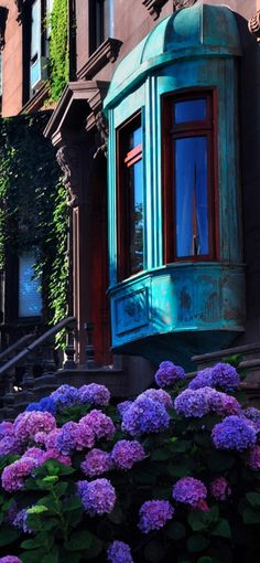 Brownstone with copper Bay Window in Brooklyn, New York City