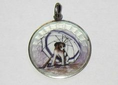 Vtg Antique Victorian Sterling Silver Guilloche Enamel Puppy Dog Pendant Charm | eBay