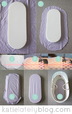 Bassinet / Moses Basket fitted sheet tutorial at Katie Lately Blog - http://www.katielatelyblog.com/2013/10/sewing-tutorial-fitted-bassinet-sheet/