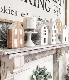 25 Inspiring Farmhouse Christmas Decor Ideas You Need to See : Christmas Village Farmhouse Mantel via Christmas Wall Art, Christmas Mantels, Cozy Christmas, Christmas Music, Rustic Christmas, All Things Christmas, Christmas Crafts, Christmas Decorations, Christmas Ornaments