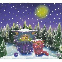2 Cranky Cats in Snowstorm - Cynthia Schmidt, Indigo Art