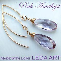 Pink Amethyst gold filled ear hooks