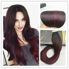 Balayage Remy Ombre Tape In Human Hair Extensions Virgin Sliky Straight Brown  #Ugea