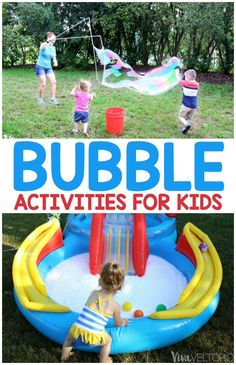 Fun bubbles activities for kids that the whole family will enjoy! Awesome giant bubble solution recipe and a DIY bubble bath recipe too! #ad