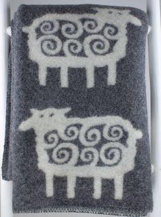 Woondeken wol schaap antraciet-wit 180x130cm Klippan - BeterLeven.net