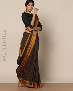 Buy Indie Picks Women Black Cotton Silk Ilkal Saree with Zari Border Mysore Silk Saree, Handloom Saree, Silk Sarees, Saris, Saree Wearing Styles, Saree Styles, Dress Styles, Saree Blouse Patterns, Saree Blouse Designs