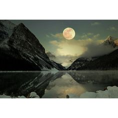 Lake Louise Full Moon Photography Print 11x14 Fine Art Canadian Rockies Mountain Wilderness Winter Night Landscape Photography Print. ($40) found on Polyvore featuring backgrounds, mountain, photography and pictures