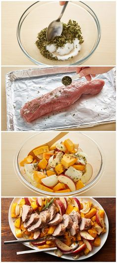Easy Pork and Squash Sheet-Pan Dinner. This delicious rosemary and sage pork tenderloin dinner is ready in just 45 minutes for a quick weeknight meal.